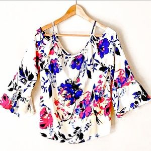 I.N.C Cold Shoulder Flowered Blouse NWOT